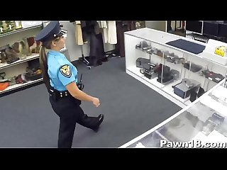 Cop lady sucking dick for money in the shop