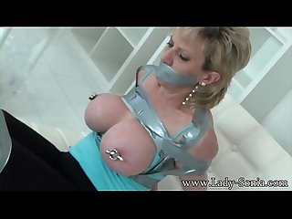 Lady Sonia has her nipples tortured then gets spanked