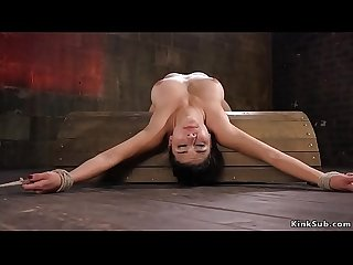 Hairy hogtied brunette beaty in dungeon