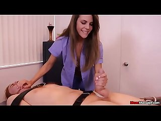 Teen Babe Straps Down Customer For Release Rub