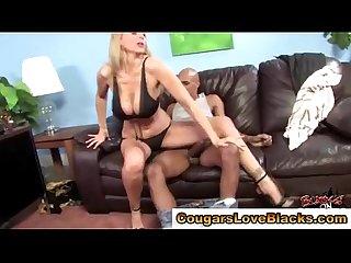 Big tits interracial cougar takes cock