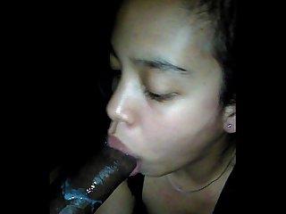 Filipina and black mixed Girl sucking my dick good again