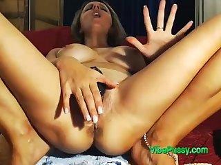 Busty Milf Likes VIBEPUSSY.com Ohmibod On Pussy Until She Pops