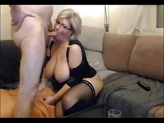 German blond milf in stockings 8min