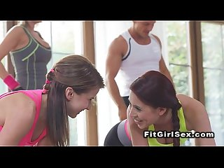 Fitness lesbians tribbing after training