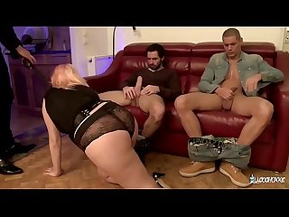 LA COCHONNE - Busty French BBW gets three cocks and DP in wild hard group sex