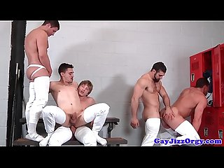 Muscle group in jockstraps cumcovering stud