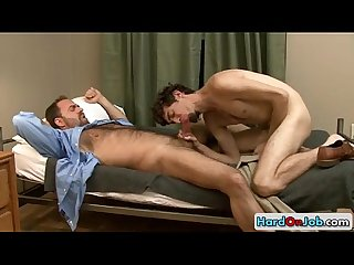 Hairy guy gets his cock sucked by hardonjob