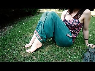Little feet relaxing outdoor