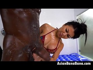 Asian Beauty Jackie Lin In Da Shower With Huge Black Dong