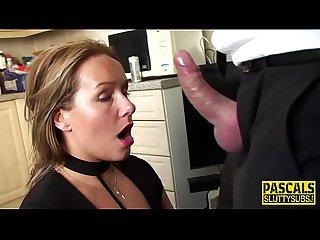 Submissive milf gargles