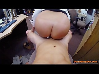 Horny waitress gives pawnshop owner handjob and blowjob