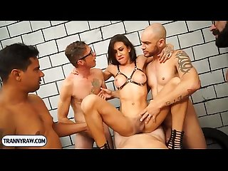 Tight tranny bitch gabi all holes stuffed in a gangbang