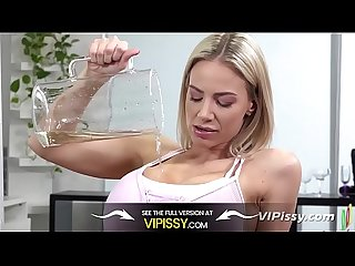 Busty Blondes Compare Their Pissing Skills