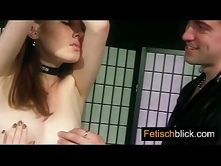 Latex bitch taken hard by 2 till pussy orgasms from licking dildo bondage