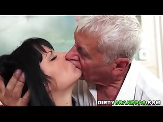 Elder gentleman fucks tiny babe