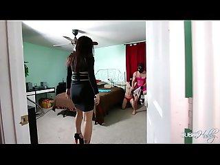Goddess Vivian ass fucks two theifs