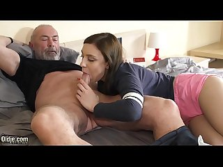 Kinky grandpa fucks young girl hardcore and she sucks his cock before swallowing the cumshot