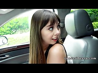 Nasty brunette teen bangs big cock in car