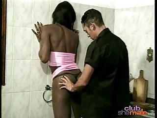 Ebony she male fucking with white guy