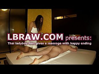 Ladyboy nan gives a massage and gets Barebacked
