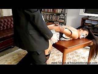 Girl tied up tape gagged bent over and fucked