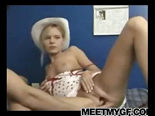 Cute blonde teen cowgirl fucked