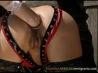 Fisting and anal sex in interracial BDSM orgy with African migrant