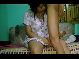 Indian aunty suck my cock and fucked hard on bed ganu