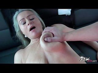 Povbitch Super hot mom with bouncing monster boobs ride the cock in car
