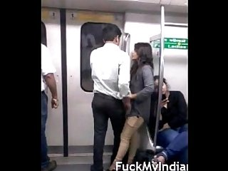 Desperate lovers in Delhi Metro kiss n boob press wid audio fuckmyindiangf com