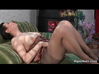 Busty mature brunette slut sucks on hard