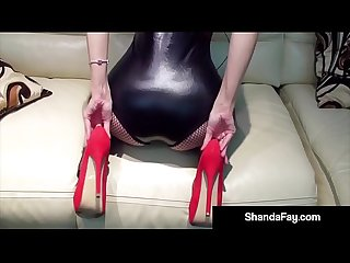Hot housewife shanda fay gets horny with red fuck me shoes excl