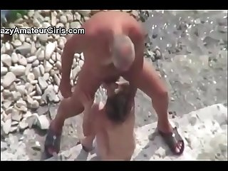 Couple at nude beach