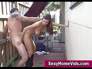 Hot fucking outdoors in home video