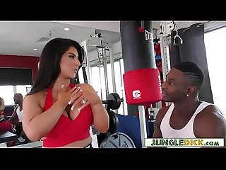 Gym slut raven hart squirts from huge black cock