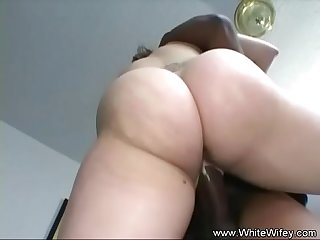 Chunky wife fucks bbc on couch