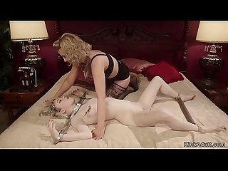Blonde dom trains lesbian to be slut