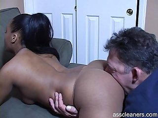 Interracial ass cleaning