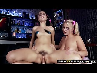 Slut Raver girls (Payton Simmons, Riley Reid) have a Threesome On The Dance Floor..