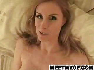 Busty blonde mom blowjob and facial