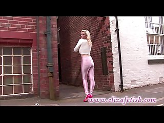 Skin tight pink leggings designer pink high heels out in birmingham