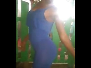 Sexy Carla African Ivoirienne Grils twerking big Ass on blue dress