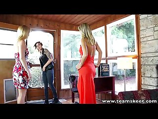 Stepsiblings blondes and brunette in a sensual lesbian threesome