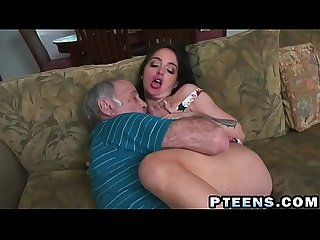 A slutty young brunette prostitute takes care of a horny grandpa s dick