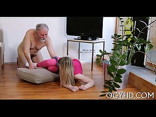 Youthful crumpet rides old cock