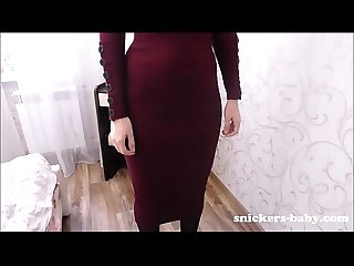 Big ass young wife with no panties in tight dress