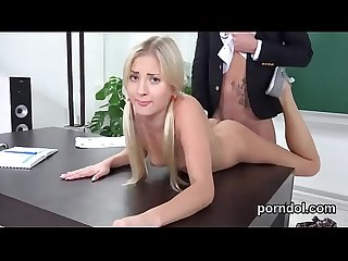 Nice college girl is tempted and banged by her older teacher