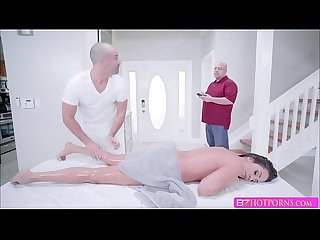 Milf Ariella ferrera shows off her bigtits on massage table