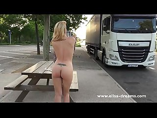 Flashing and naked in a rest area